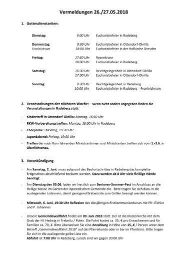 Vermeldungen für KW22/18