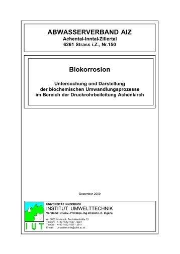 Biokorrosion Untersuchung und Darstellung der biochemischen