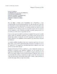 Carta del Expresidente Andrés Pastrana a los candidatos presidenciales