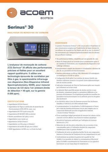 ECOTECH Serinus 30 CO Gas Analyser spec sheet (Français)