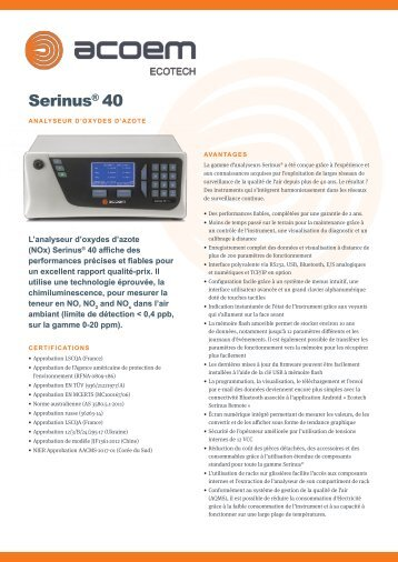ECOTECH Serinus 40 NOx Gas Analyser spec sheet (Français)
