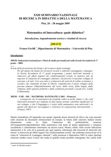 quale didattica? - Seminario Nazionale di Ricerca in Didattica della ...