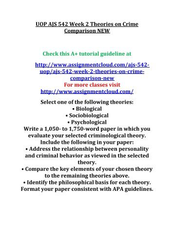 theories of crime comparison Find 100% verified ajs 514 week 2 theories on crime comparison for university of phoenix students at assignmentehelpcom.