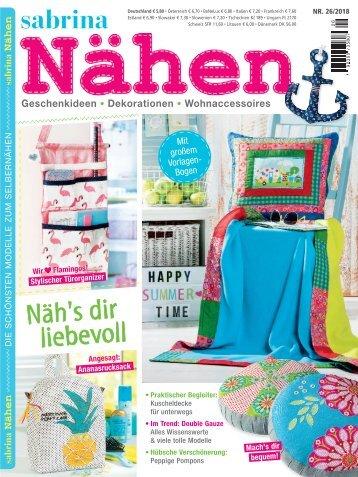 Sabrina Nähen Nr 26/2018 - Blick ins Heft