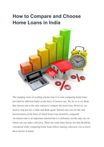 How to Compare and Choose Home Loans in India