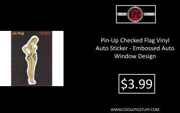 Pin-Up Checked Flag Vinyl Auto Sticker - Embossed Auto Window Design