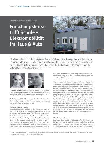 Forschungsbörse trifft Schule – Elektromobilität im Haus & Auto