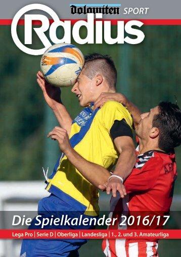 Radius Fussball Spielkalender 2016