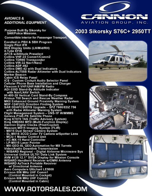 "P'ง""X 3?§oE §ZIl'nnBi';§;Lkr§;'?kyfฐ' 2003 Sikorsky S76C+ 2950TT"
