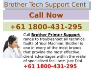 Brother printer support centre +61 1800-431-295