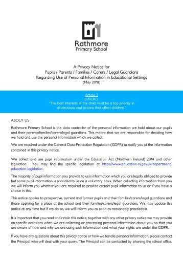 Privacy Notice - Pupils and Parents_Families_Carers_Legal Guardians