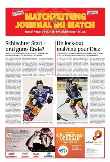 Heute Aujourd'hui 19.45: EHC Biel/Bienne - EV Zug - Journal du Jura