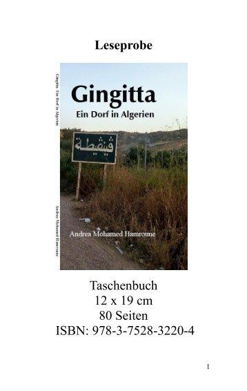 """Leseprobe """"Gingitta: Ein Dorf in Algerien"""" von Andrea Mohamed Hamroune"""