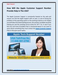 Find the Apple Customer Support +1-800-501-2708 in the USA?