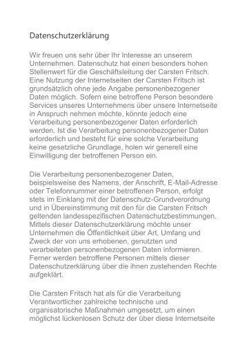 Datenschutzerklärung Carsten Fritsch