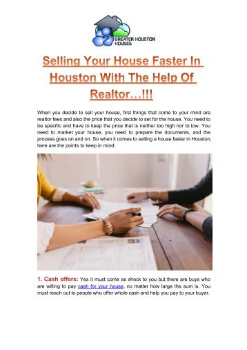 Selling Your House Faster In Houston With The Help Of Realtor
