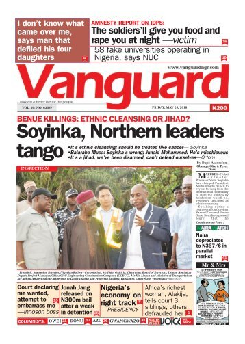 25052018 - BENUE KILLINGS: ETHNIC CLEANSING OR JIHAD? Soyinka, Northern leaders tango