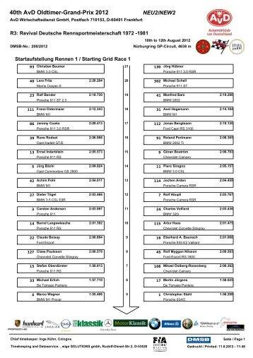 Startaufstellung Rennen 1 / Starting Grid Race 1 - AvD