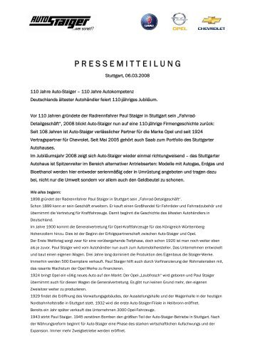 P R E S S E M I T T E I L U N G - Auto-Staiger GmbH