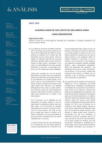 Algunos casos de uso lícito de una marca - Gómez-Acebo & Pombo