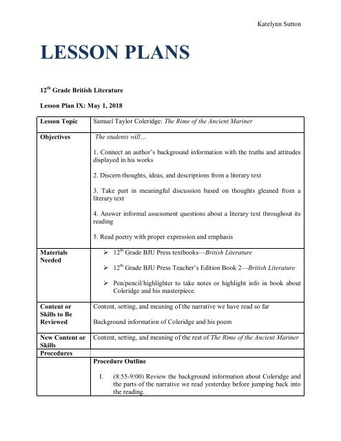 25 The Rime of the Ancient Mariner Part 2- Lesson Plan PDF