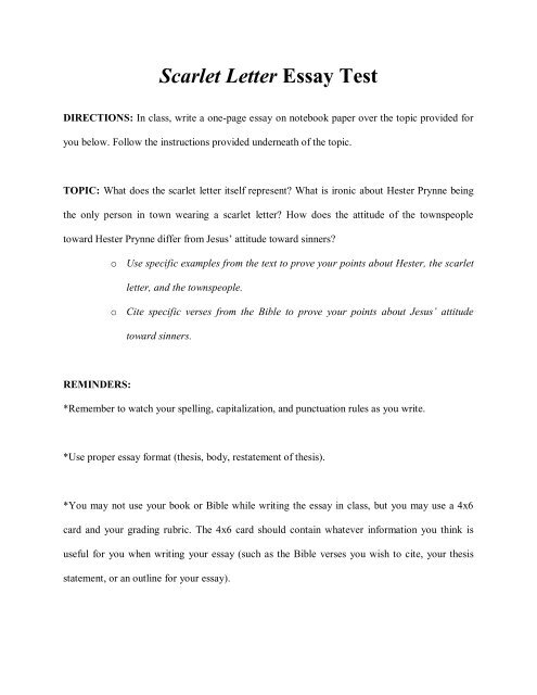 scarlet letter summary essay