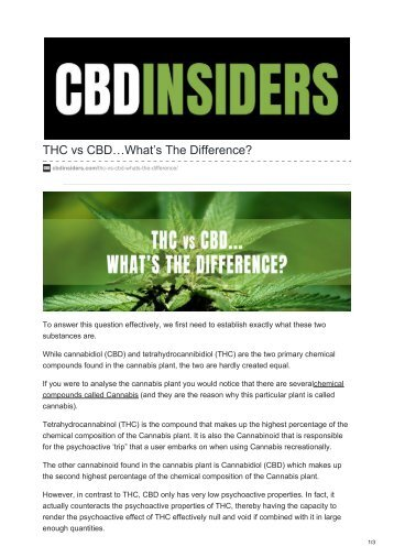 THC vs CBD - Whats The Difference?