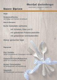 Gasthof Hasenberger - Speisekarte