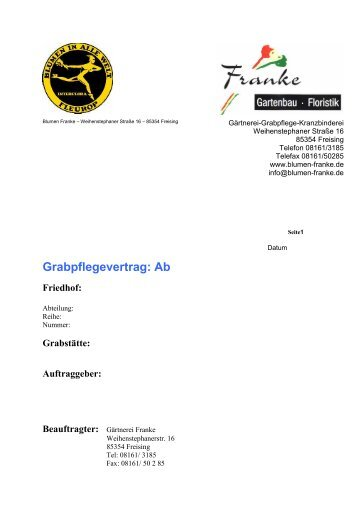 Grabpflegevertrag Magazine
