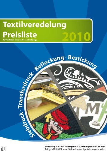 Textilveredelung Preisliste - Blue Tex Textil-Mode GmbH