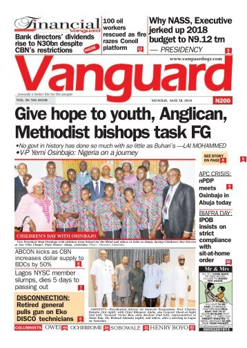 28052018 - Give hope to youth, Anglican, Methodist bishops task FG