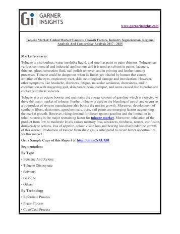 Toluene Market Size, Industry Analysis & Forecast Report 2017 to 2025