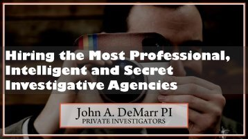 Most Professional, Intelligent Investigative Agencies