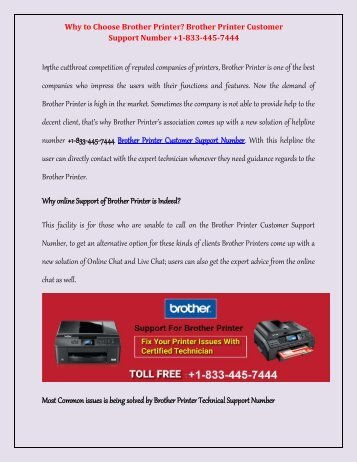 Contact +1-833-445-7444 Brother Printer technical help support Number