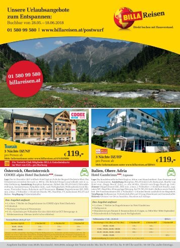 BILLA Reisen Autoreisen-Angebote Postwurf KW22
