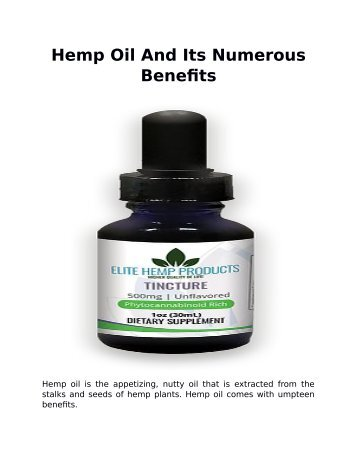 Hemp Oil And Its Numerous Benefits