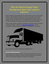 Why the Need of Supply Chain Management App in the Logistics Industry