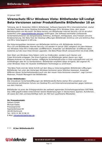 Virenschutz für Windows Vista: BitDefender kündigt Beta ...