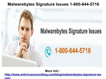 Malwarebytes Signature Issues 1-800-644-5716