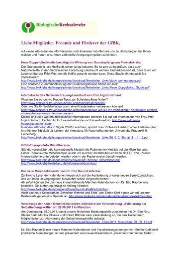 Liebe Mitglieder, Freunde und Förderer der GfBK, - Gesellschaft für ...