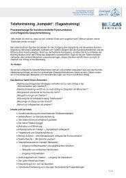 "Telefontraining ""kompakt"" - Fachverband Biogas e.V."