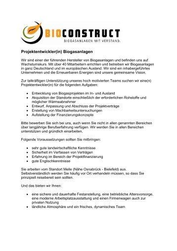 Projektentwickler(in) Biogasanlagen - BioConstruct