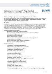 "Zeitmanagement ""kompakt"" (Tagestraining) - Fachverband Biogas e.V."