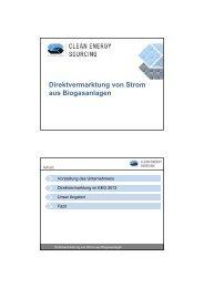 Direktvermarktung von Strom aus Biogasanlagen - Fachverband ...