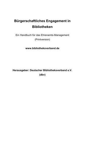 Bürgerschaftliches Engagement in Bibliotheken - Deutscher ...