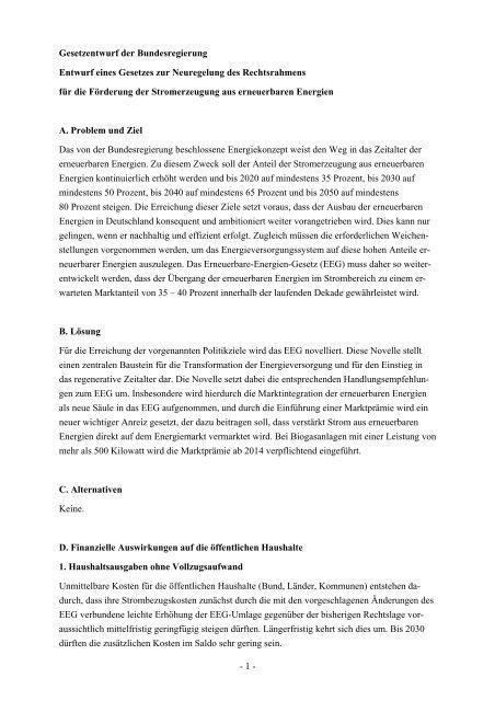 Gesetzentwurf der Bundesregierung - Erneuerbare Energien