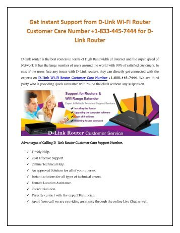 Conatct for +1-833-445-7444 D-Link Router technical help Support Number