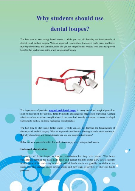 Why students should use dental loupes