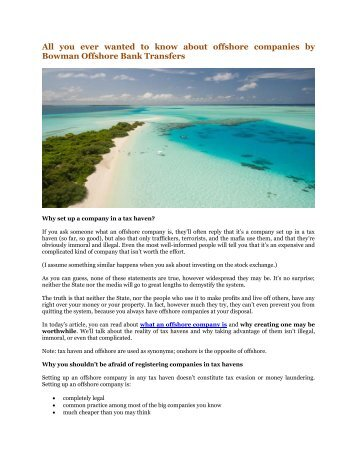 All you ever wanted to know about offshore companies by Bowman Offshore Bank Transfers