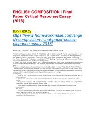 ENGLISH COMPOSITION I Final Paper Critical Response Essay (2018)
